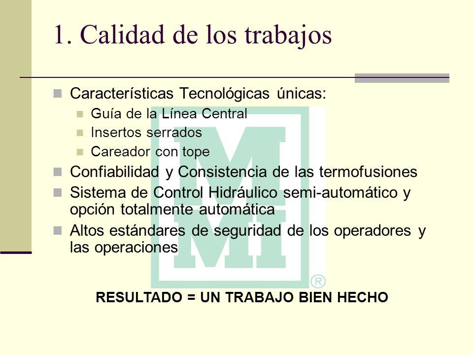1. Calidad de los trabajos Características Tecnológicas únicas: Guía de la Línea Central Insertos serrados Careador con tope Confiabilidad y Consisten