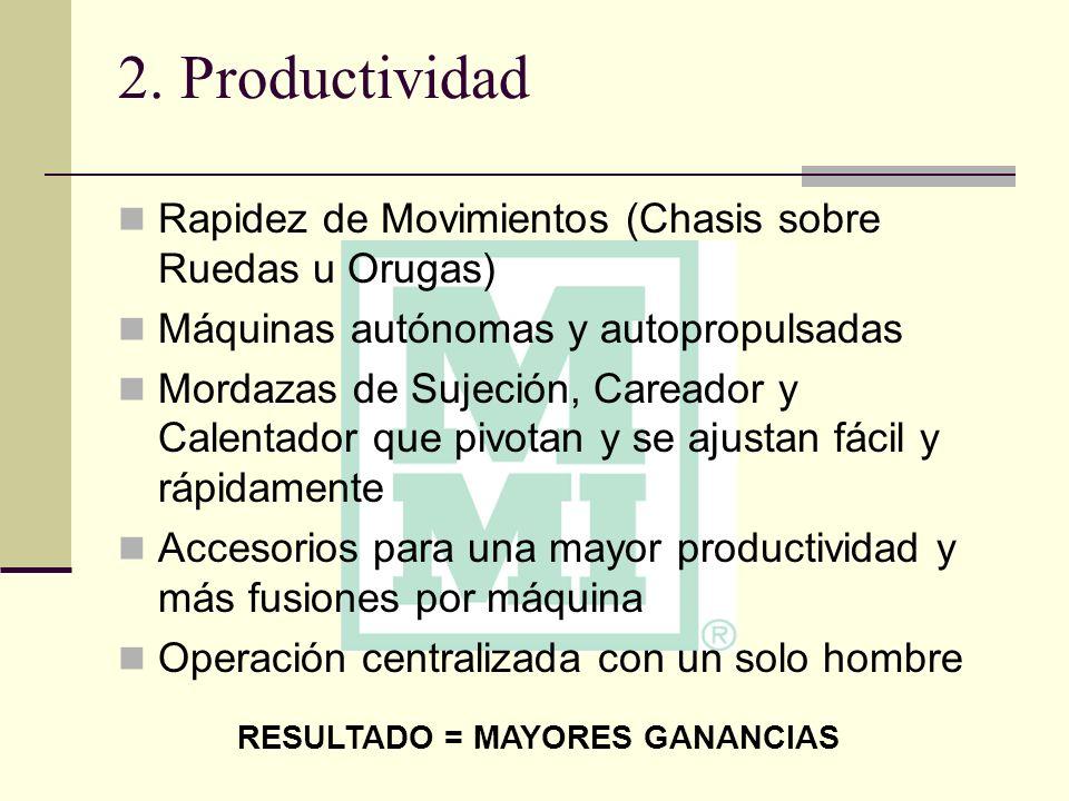 2. Productividad Rapidez de Movimientos (Chasis sobre Ruedas u Orugas) Máquinas autónomas y autopropulsadas Mordazas de Sujeción, Careador y Calentado