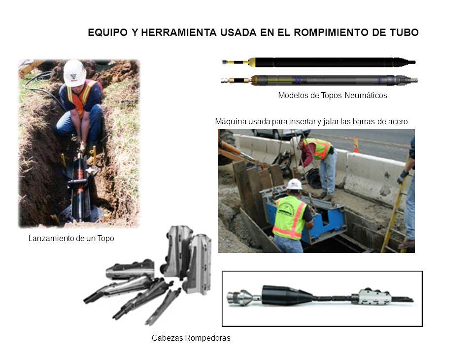 EQUIPO Y HERRAMIENTA USADA EN EL ROMPIMIENTO DE TUBO Lanzamiento de un Topo Cabezas Rompedoras Modelos de Topos Neumáticos Máquina usada para insertar