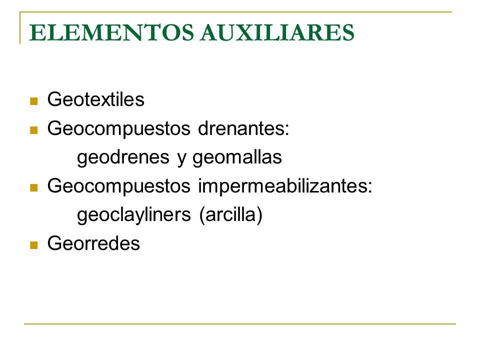 ELEMENTOS AUXILIARES Geotextiles Geocompuestos drenantes: geodrenes y geomallas Geocompuestos impermeabilizantes: geoclayliners (arcilla) Georredes