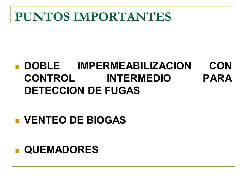 PUNTOS IMPORTANTES DOBLE IMPERMEABILIZACION CON CONTROL INTERMEDIO PARA DETECCION DE FUGAS VENTEO DE BIOGAS QUEMADORES