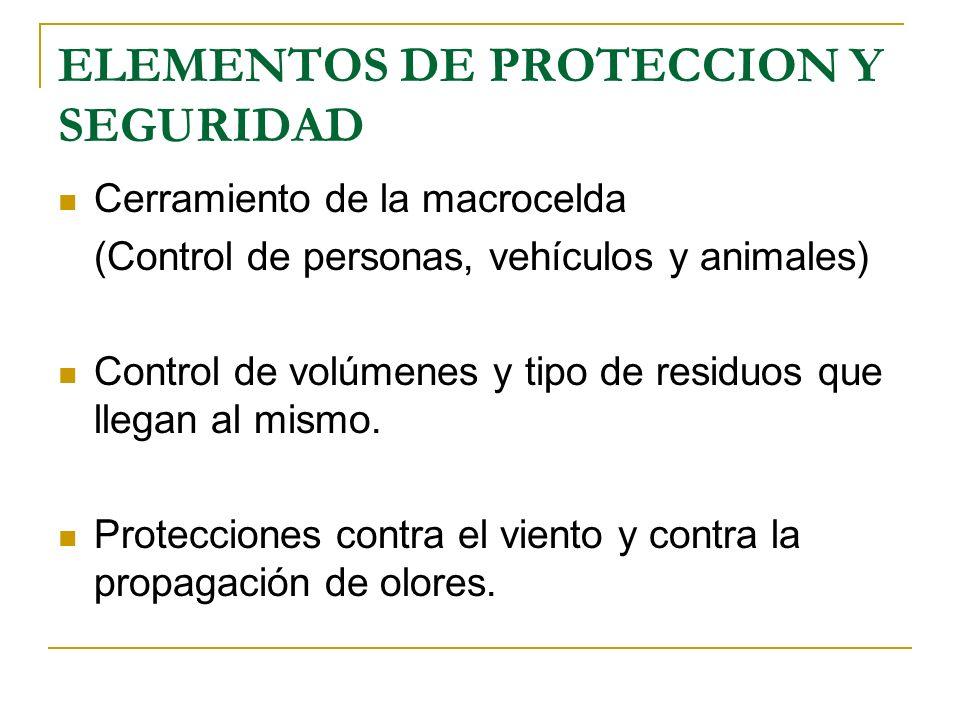 ELEMENTOS DE PROTECCION Y SEGURIDAD Cerramiento de la macrocelda (Control de personas, vehículos y animales) Control de volúmenes y tipo de residuos q
