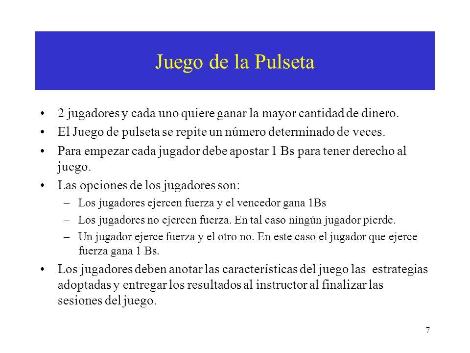 RESULTADOS DEL JUEGO JUNTANDO MONEDAS Cara Cruz (1,-1)(-1, 1) (1,-1) ¿Cuál es la estrategia dominante.
