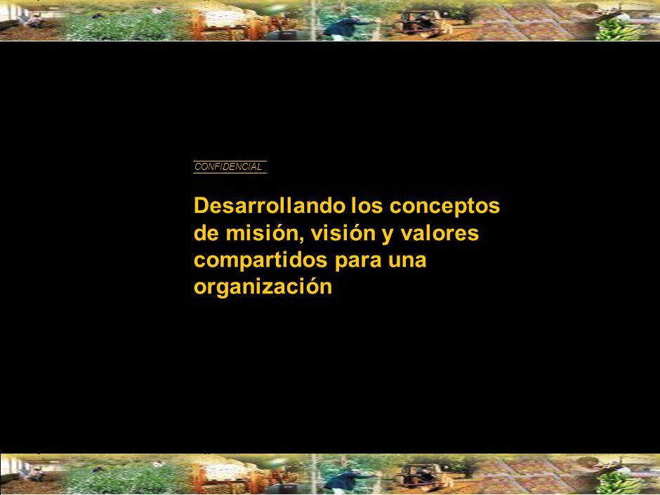 Desarrollando los conceptos de misión, visión y valores compartidos para una organización CONFIDENCIAL