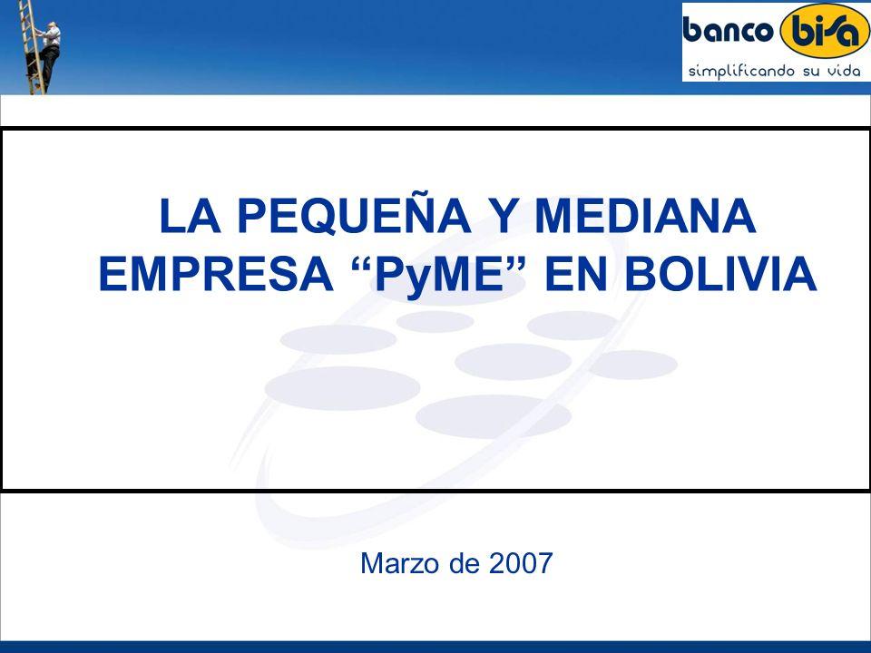 CONCLUSIONES Y RECOMENDACIONES El sector PyME en Bolivia representa cerca al 5 % del número total de las unidades económicas, proporciona aproximadamente el 9 % del empleo privado, siendo el aporte del sector al PIB boliviano de alrededor del 8 %.