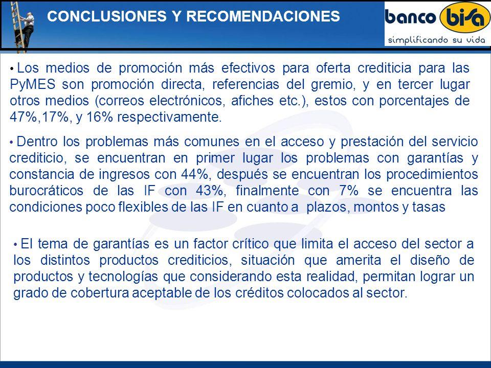 CONCLUSIONES Y RECOMENDACIONES Los medios de promoción más efectivos para oferta crediticia para las PyMES son promoción directa, referencias del grem