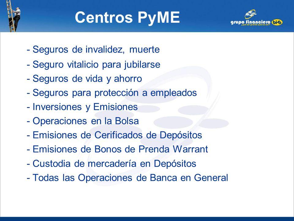 Centros PyME - Seguros de invalidez, muerte - Seguro vitalicio para jubilarse - Seguros de vida y ahorro - Seguros para protección a empleados - Inver