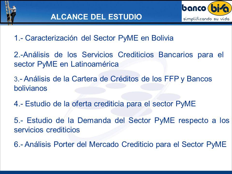1.- Caracterización del Sector PyME en Bolivia ALCANCE DEL ESTUDIO 4.- Estudio de la oferta crediticia para el sector PyME 6.- Análisis Porter del Mer