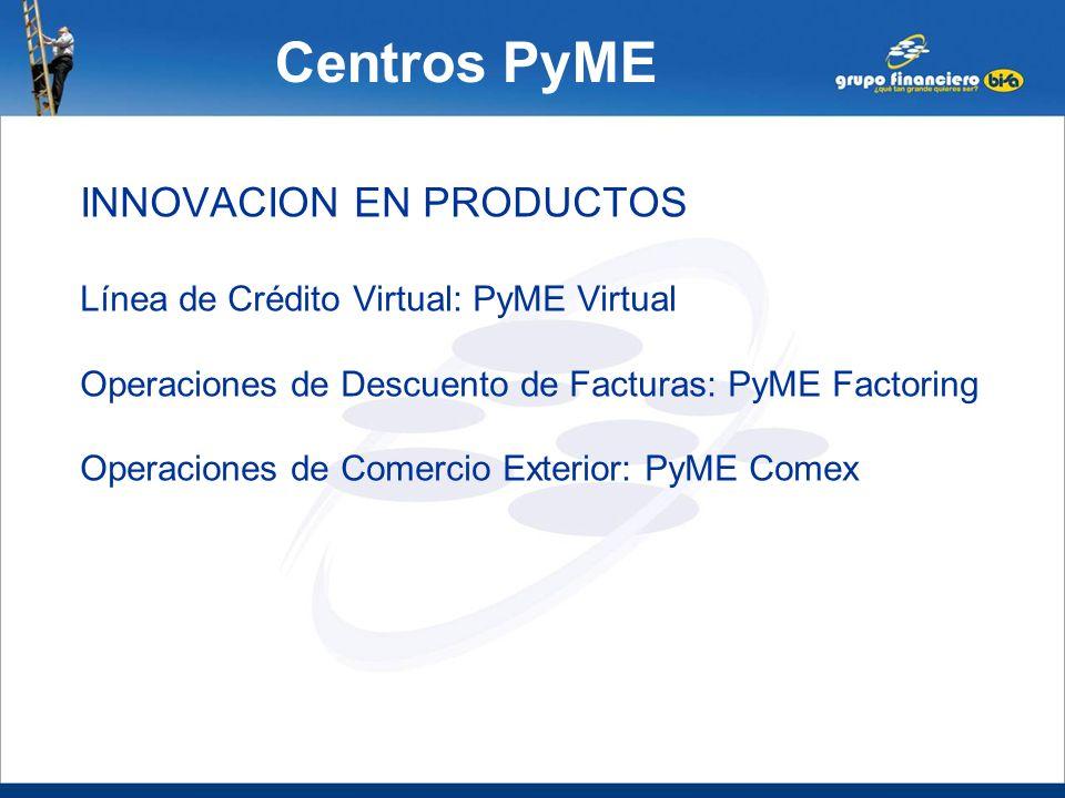 Centros PyME INNOVACION EN PRODUCTOS Línea de Crédito Virtual: PyME Virtual Operaciones de Descuento de Facturas: PyME Factoring Operaciones de Comerc