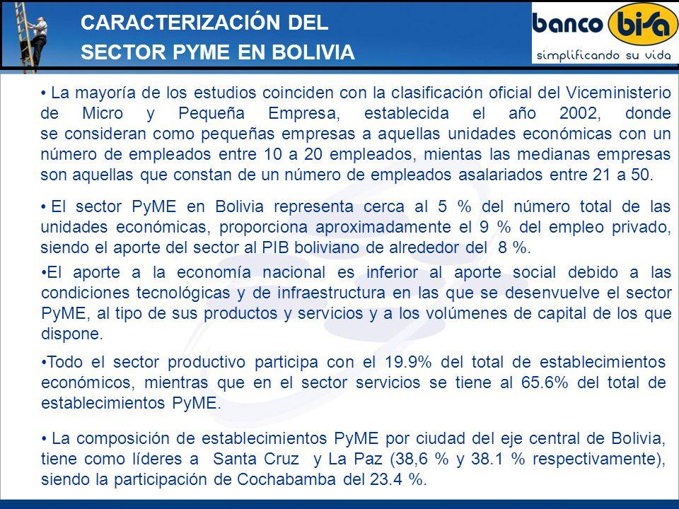 CARACTERIZACIÓN DEL SECTOR PYME EN BOLIVIA La mayoría de los estudios coinciden con la clasificación oficial del Viceministerio de Micro y Pequeña Emp