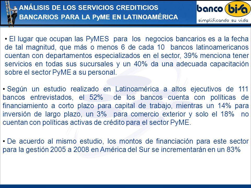 ANÁLISIS DE LOS SERVICIOS CREDITICIOS BANCARIOS PARA LA PyME EN LATINOAMÉRICA El lugar que ocupan las PyMES para los negocios bancarios es a la fecha