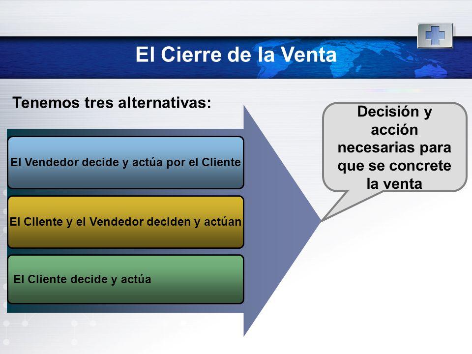 El Cierre de la Venta El Vendedor decide y actúa por el Cliente El Cliente y el Vendedor deciden y actúan El Cliente decide y actúa Decisión y acción