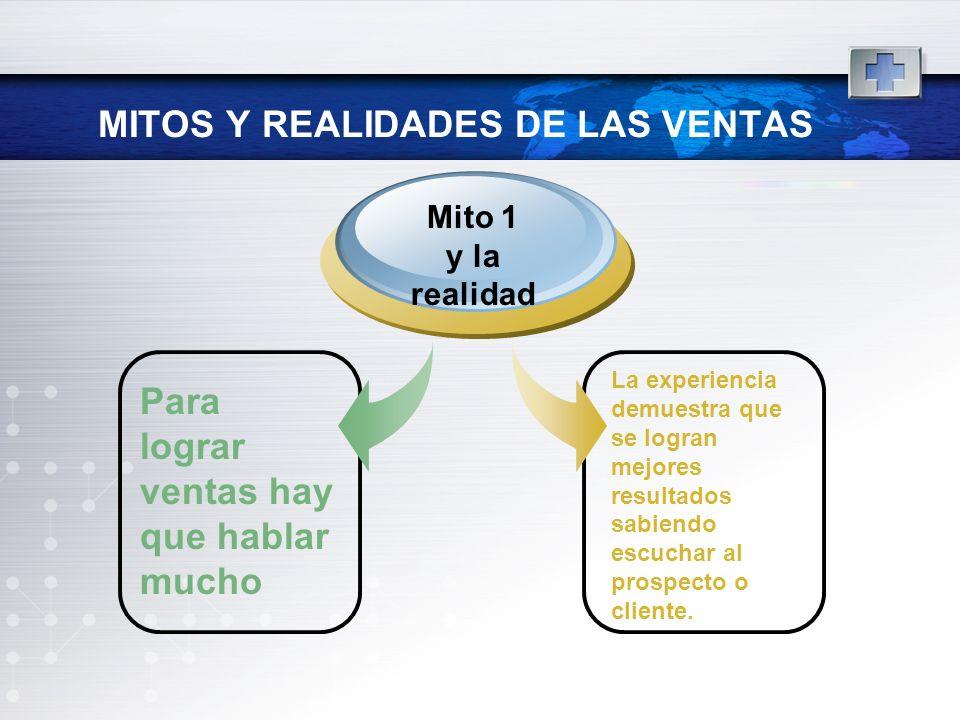 MITOS Y REALIDADES DE LAS VENTAS Para lograr ventas hay que hablar mucho Mito 1 y la realidad La experiencia demuestra que se logran mejores resultado