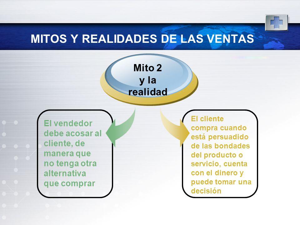 MITOS Y REALIDADES DE LAS VENTAS El vendedor debe acosar al cliente, de manera que no tenga otra alternativa que comprar Mito 2 y la realidad El clien