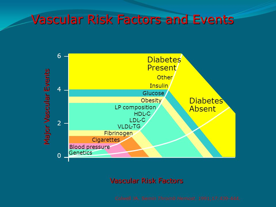 Vascular Risk Factors and Events Diabetes Present Diabetes Absent Other Insulin Glucose Obesity LP composition HDL -C LDL -C VLDL -TG Fibrinogen Cigar