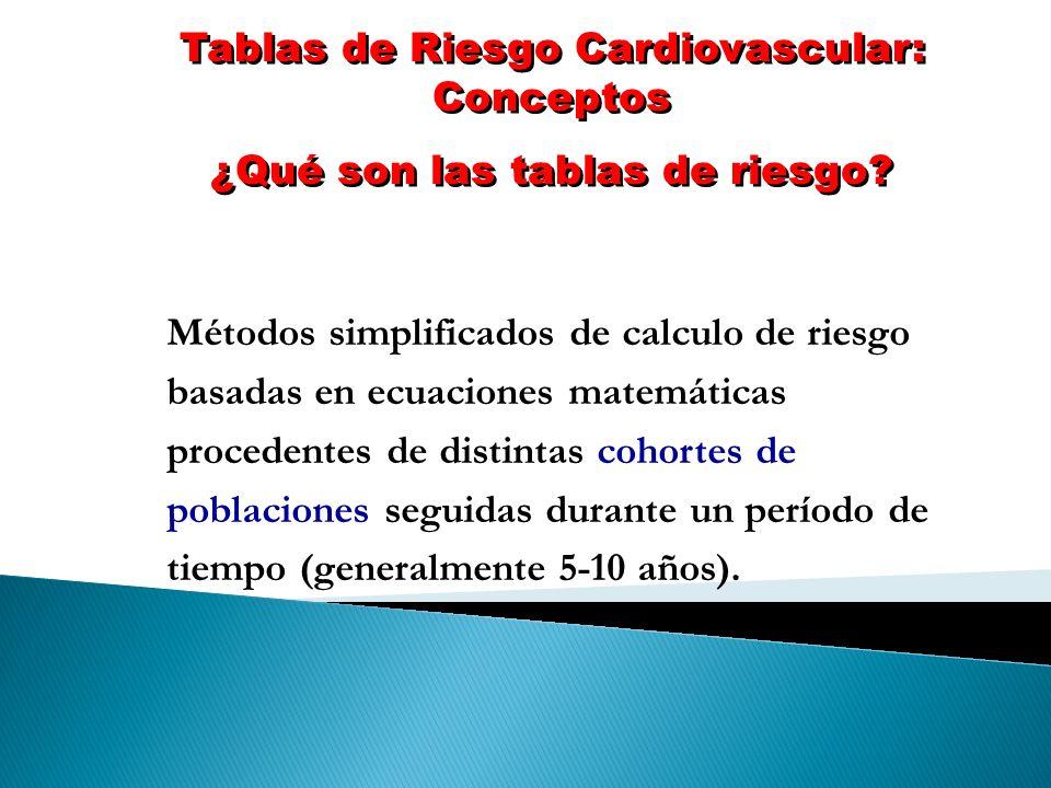 Tablas de Riesgo Cardiovascular: Conceptos ¿Qué son las tablas de riesgo? Tablas de Riesgo Cardiovascular: Conceptos ¿Qué son las tablas de riesgo? Mé