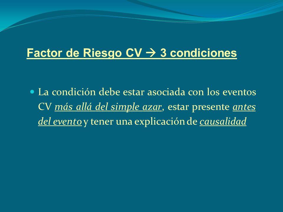 Factor de Riesgo CV 3 condiciones La condición debe estar asociada con los eventos CV más allá del simple azar, estar presente antes del evento y tene