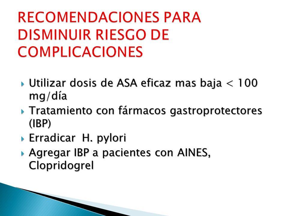 Utilizar dosis de ASA eficaz mas baja < 100 mg/día Utilizar dosis de ASA eficaz mas baja < 100 mg/día Tratamiento con fármacos gastroprotectores (IBP)