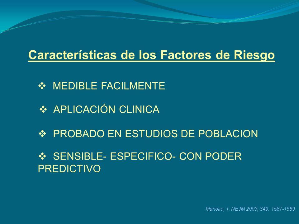 Características de los Factores de Riesgo SENSIBLE- ESPECIFICO- CON PODER PREDICTIVO MEDIBLE FACILMENTE APLICACIÓN CLINICA PROBADO EN ESTUDIOS DE POBL