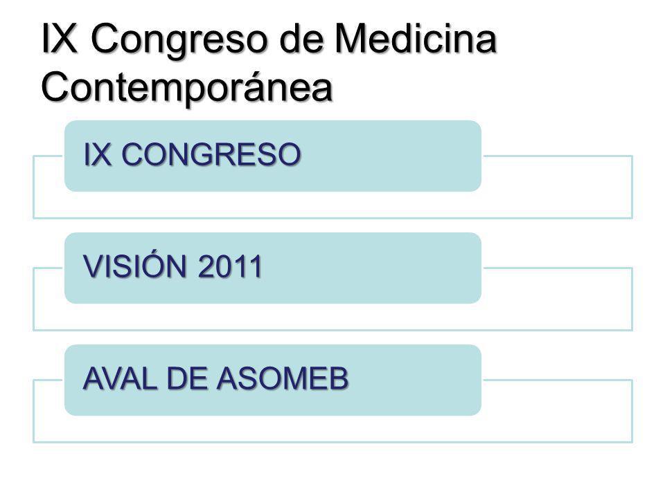 IX Congreso de Medicina Contemporánea IX CONGRESO VISIÓN 2011 AVAL DE ASOMEB