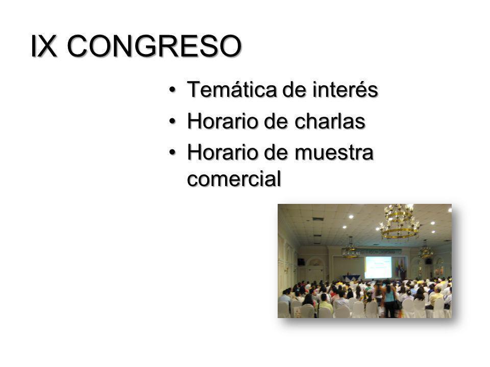 IX CONGRESO Temática de interésTemática de interés Horario de charlasHorario de charlas Horario de muestra comercialHorario de muestra comercial
