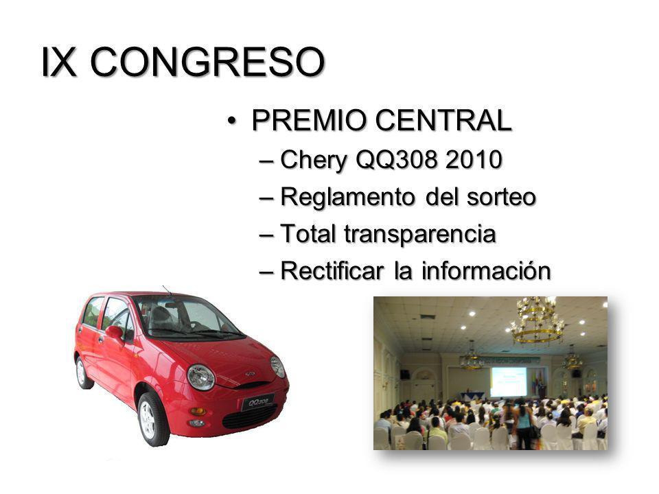 IX CONGRESO PREMIO CENTRALPREMIO CENTRAL –Chery QQ308 2010 –Reglamento del sorteo –Total transparencia –Rectificar la información