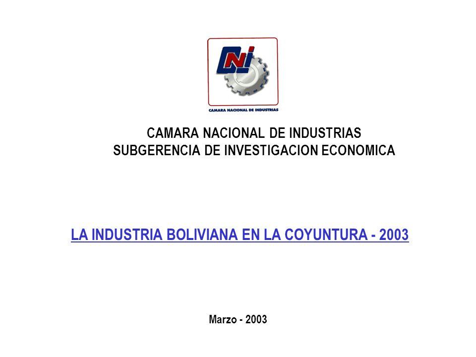 CAMARA NACIONAL DE INDUSTRIAS SUBGERENCIA DE INVESTIGACION ECONOMICA LA INDUSTRIA BOLIVIANA EN LA COYUNTURA - 2003 Marzo - 2003