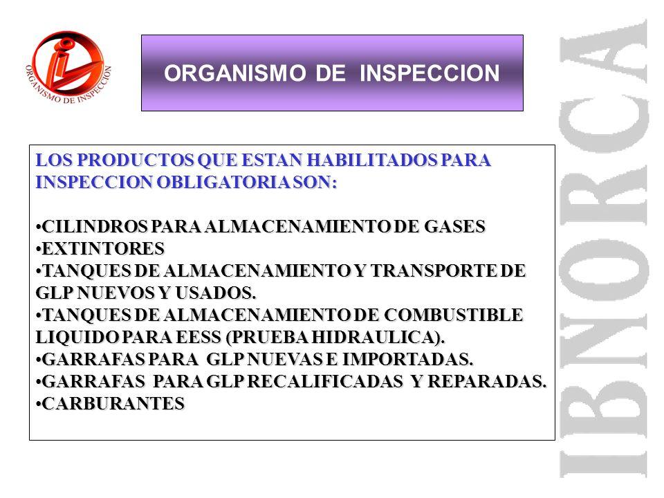 ORGANISMO DE INSPECCION METALMECANICA E HIDROCARBUROS OBJETIVOS DE LA INSPECCION: GARANTIZAR QUE LOS PRODUCTOS FABRICADOS EN TERRITORIO NACIONAL Y LOS