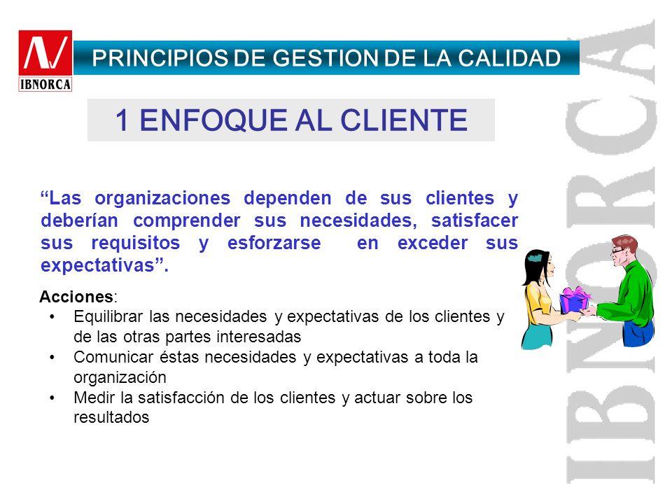 1.Enfoque al cliente 2.Liderazgo 3.Participación del personal 4.Enfoque basado en procesos 5. Enfoque de sistema para la gestión 6. Mejora continua 7.