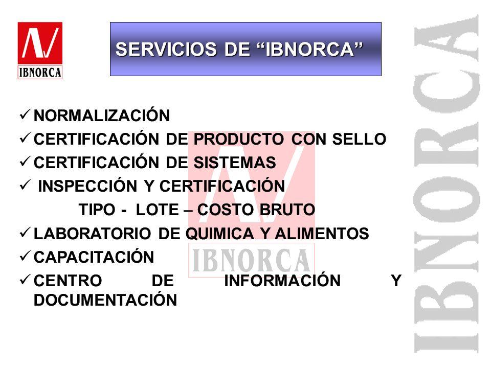 Servicios de: - Normalización técnica - Certificación - Capacitación Fundado el 5 de mayo de 1993 Visión sectores público y privado Ente privado sin f