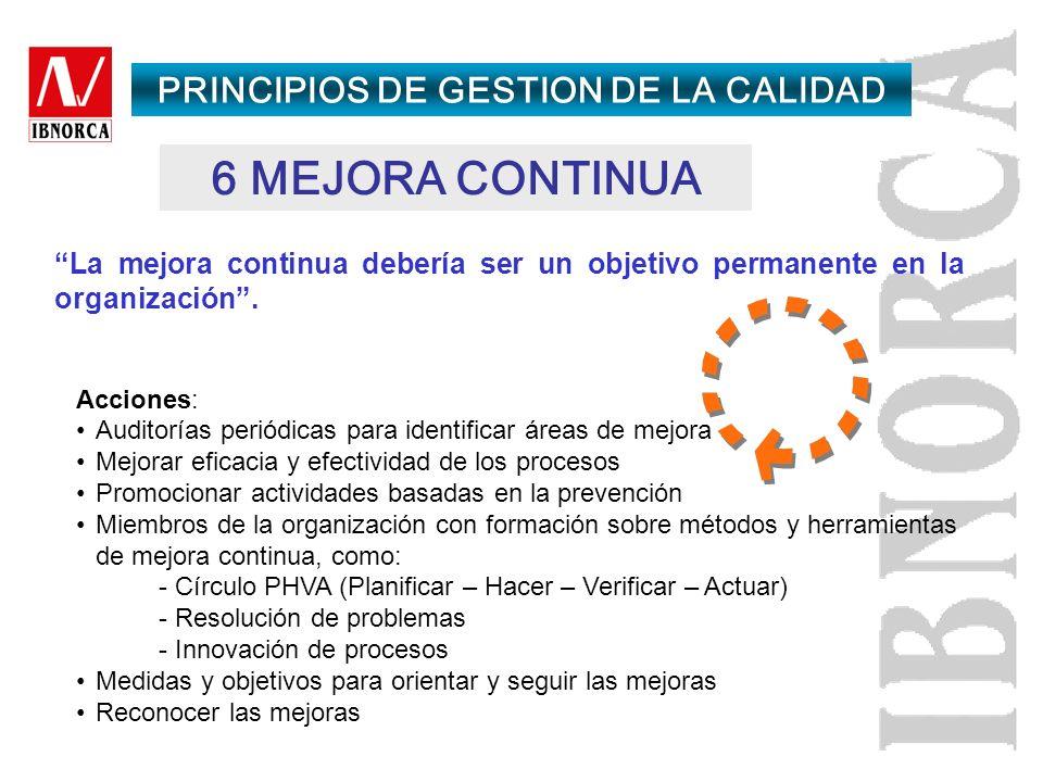 5 ENFOQUE DE SISTEMA PARA LA GESTIÓN Identificar, entender y gestionar un sistema de procesos interrelacionados para un objetivo dado, mejora la efica