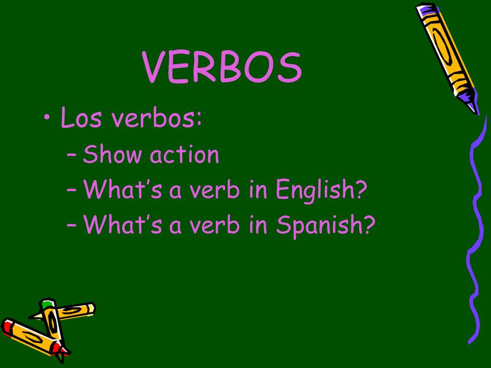 VERBOS Verbs in Spanish Estar-to be Cantar- to sing Gustar – to like Tener- to have Ser- to be Comer- to eat What are some similarities and differences?