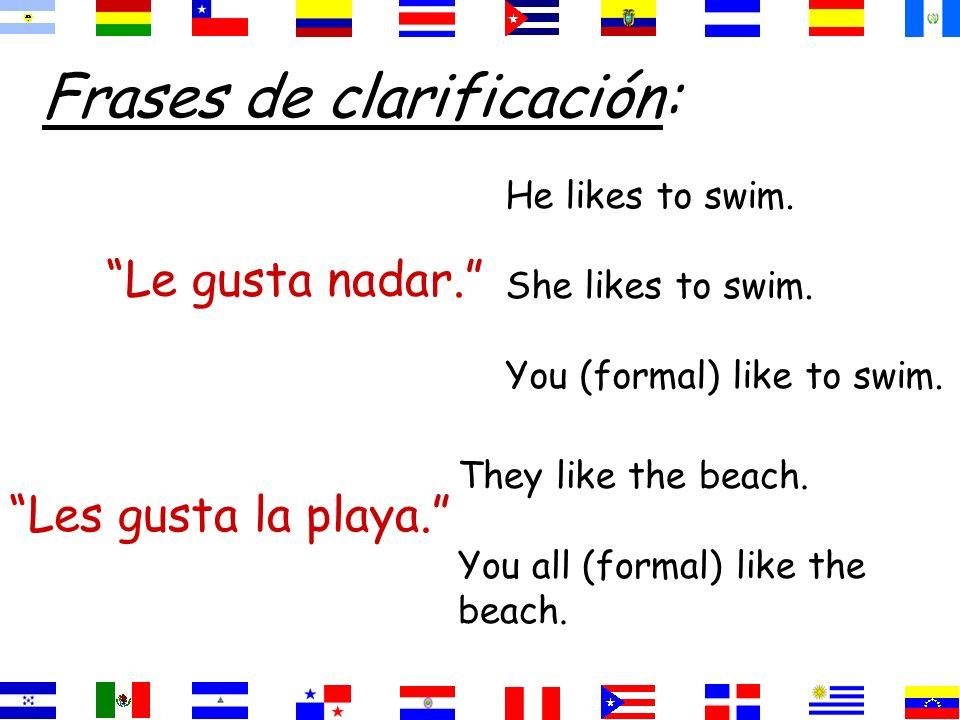 Frases de clarificación: Le gusta nadar.He likes to swim.