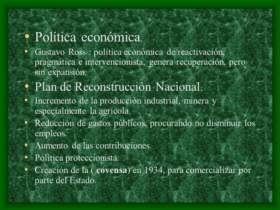 Política económica. Gustavo Ross : política económica de reactivación, pragmática e intervencionista, genera recuperación, pero sin expansión. Plan de