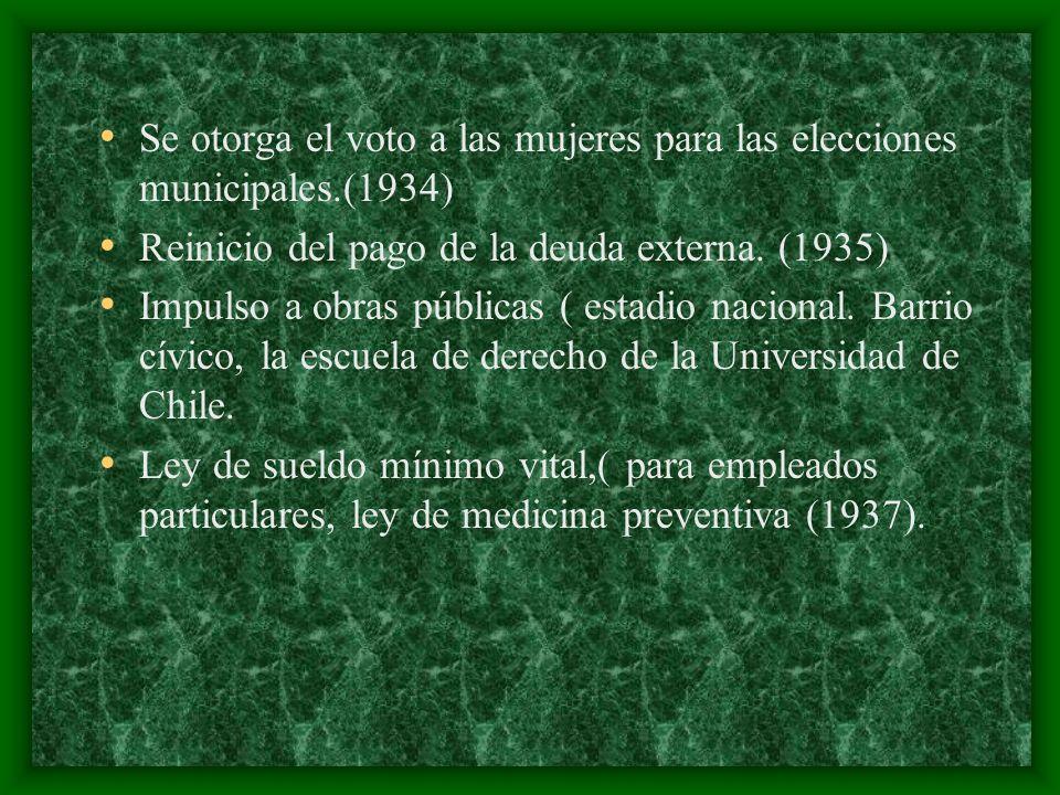 Se otorga el voto a las mujeres para las elecciones municipales.(1934) Reinicio del pago de la deuda externa. (1935) Impulso a obras públicas ( estadi