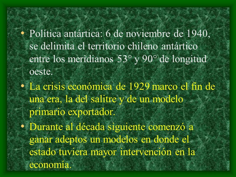 Política antártica: 6 de noviembre de 1940, se delimita el territorio chileno antártico entre los meridianos 53° y 90° de longitud oeste. La crisis ec