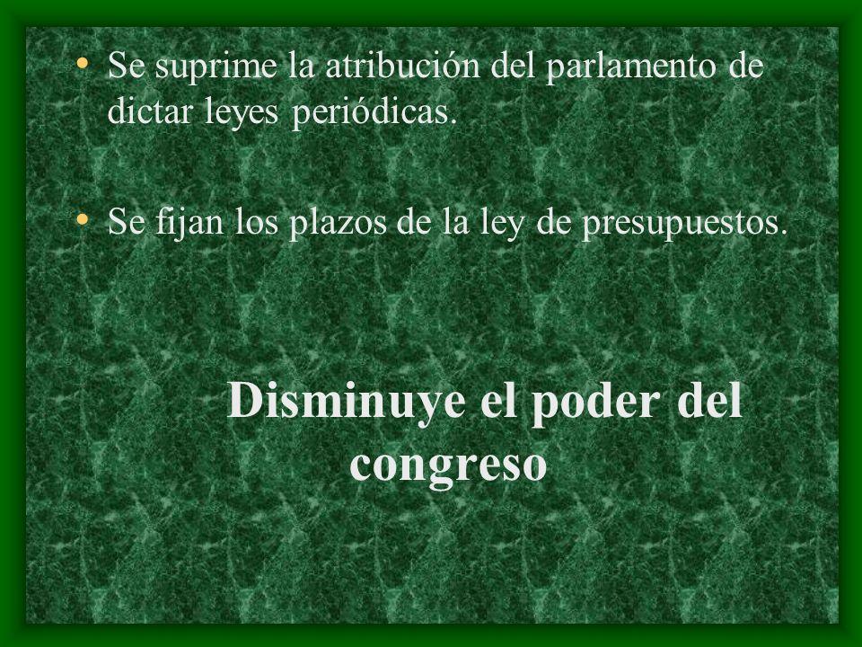 Se suprime la atribución del parlamento de dictar leyes periódicas. Se fijan los plazos de la ley de presupuestos. Disminuye el poder del congreso
