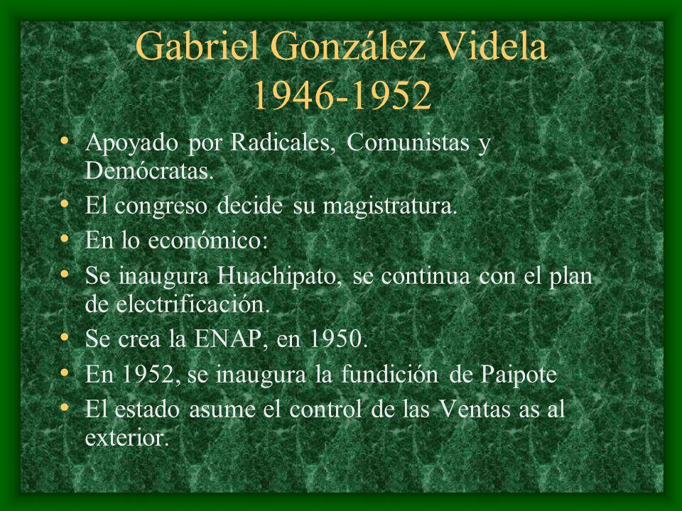 Gabriel González Videla 1946-1952 Apoyado por Radicales, Comunistas y Demócratas. El congreso decide su magistratura. En lo económico: Se inaugura Hua