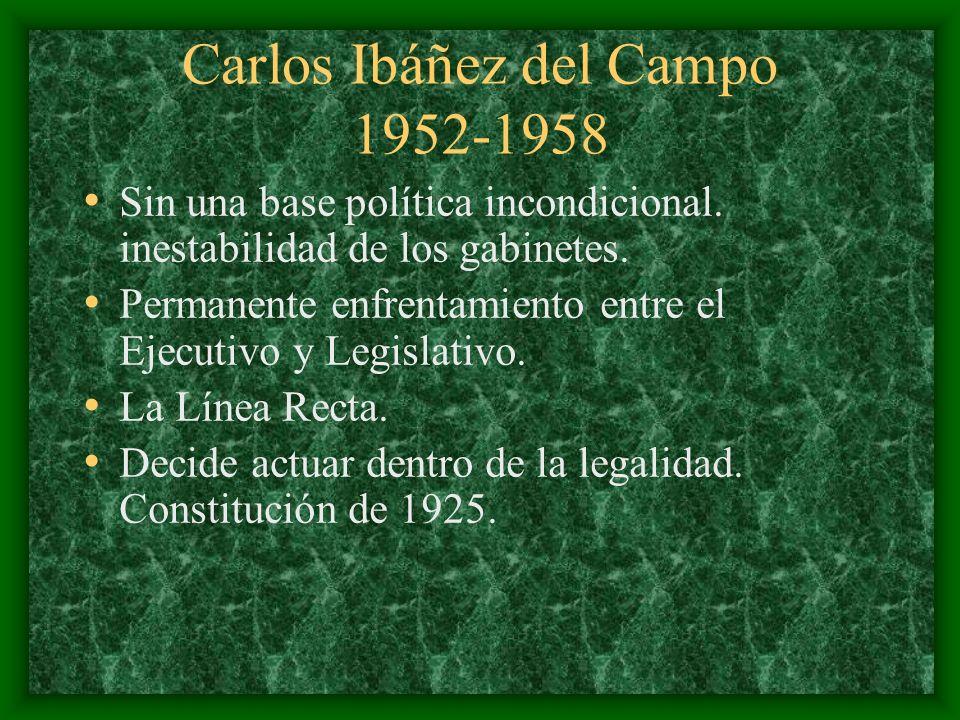 Carlos Ibáñez del Campo 1952-1958 Sin una base política incondicional. inestabilidad de los gabinetes. Permanente enfrentamiento entre el Ejecutivo y