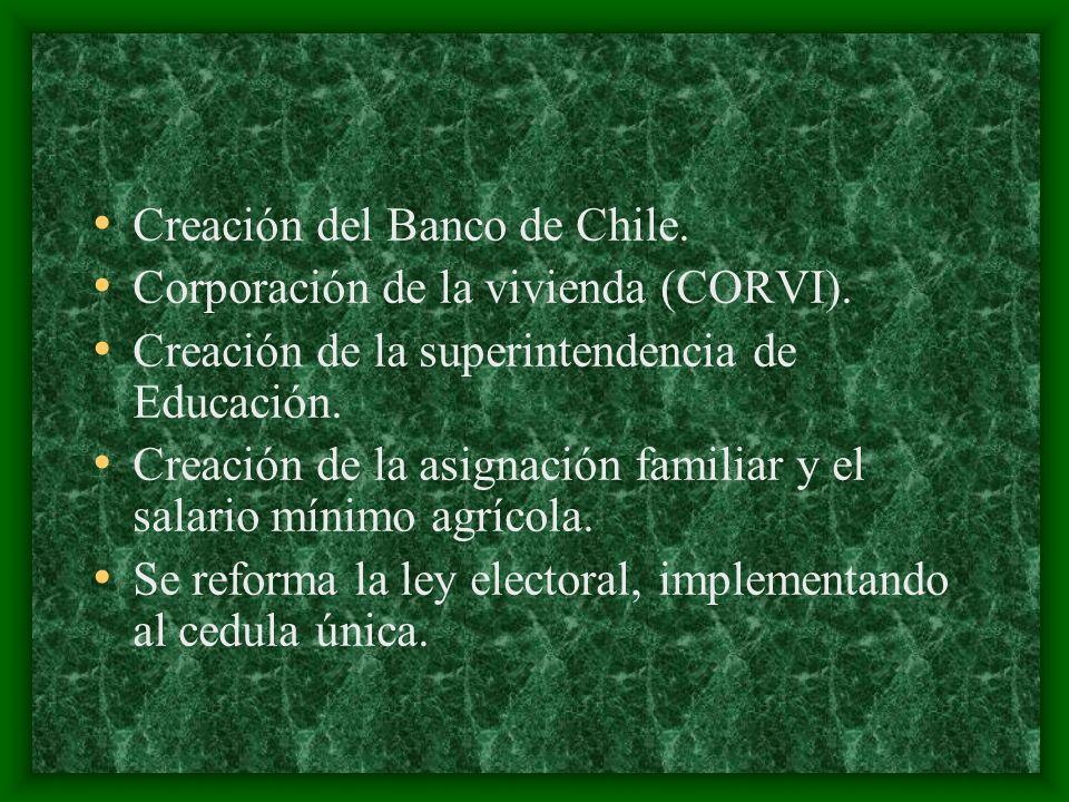 Creación del Banco de Chile. Corporación de la vivienda (CORVI). Creación de la superintendencia de Educación. Creación de la asignación familiar y el