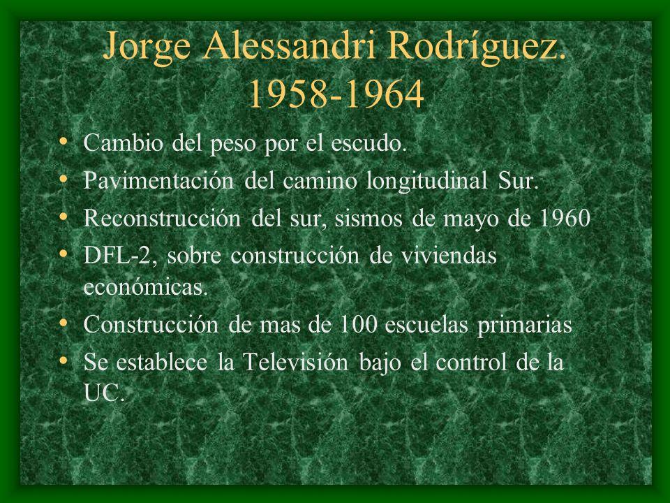 Jorge Alessandri Rodríguez. 1958-1964 Cambio del peso por el escudo. Pavimentación del camino longitudinal Sur. Reconstrucción del sur, sismos de mayo
