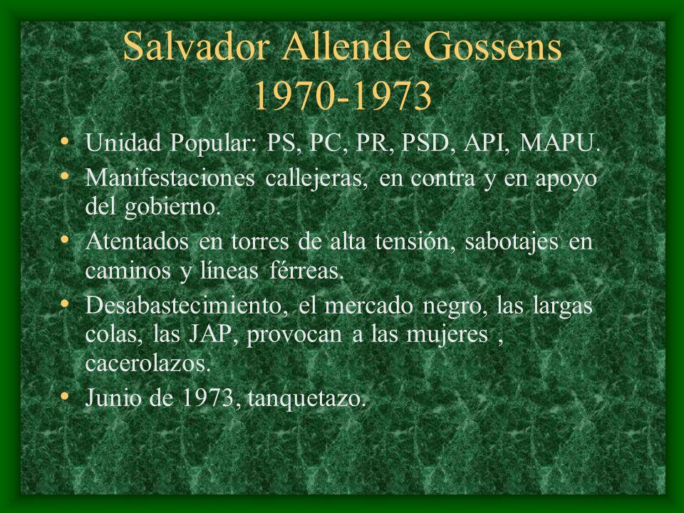 Salvador Allende Gossens 1970-1973 Unidad Popular: PS, PC, PR, PSD, API, MAPU. Manifestaciones callejeras, en contra y en apoyo del gobierno. Atentado