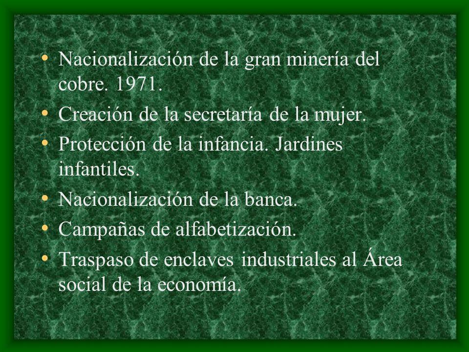 Nacionalización de la gran minería del cobre. 1971. Creación de la secretaría de la mujer. Protección de la infancia. Jardines infantiles. Nacionaliza