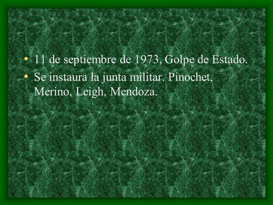 11 de septiembre de 1973, Golpe de Estado. Se instaura la junta militar. Pinochet, Merino, Leigh, Mendoza.