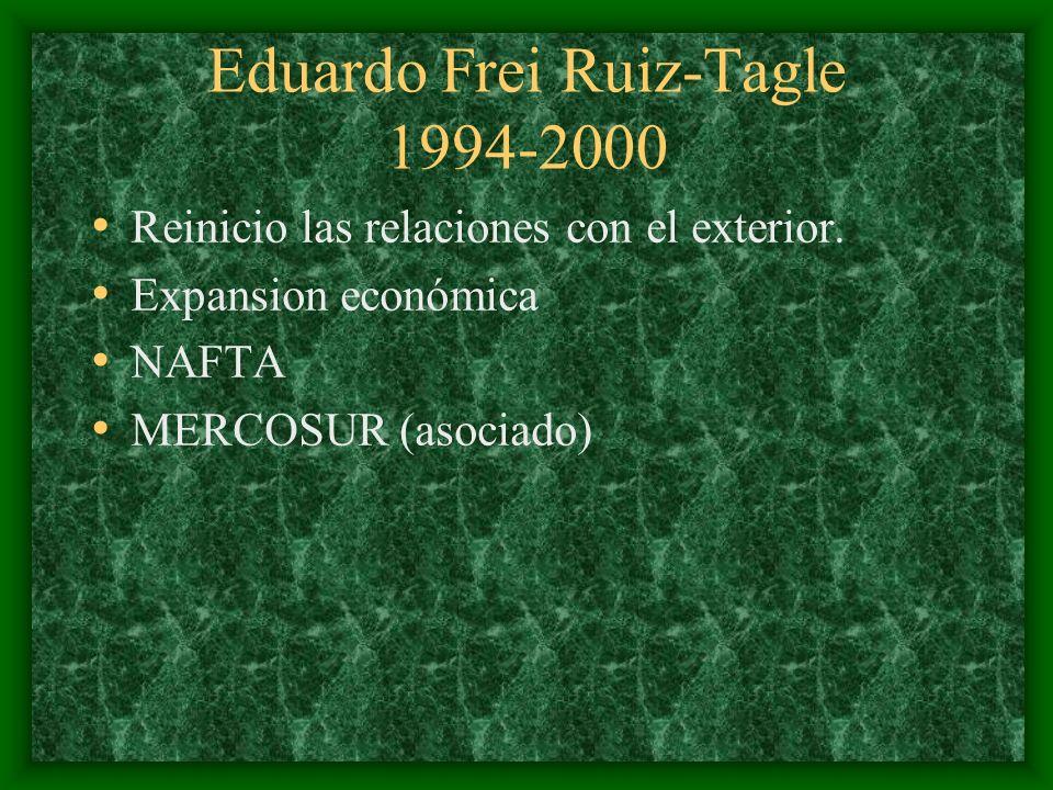 Eduardo Frei Ruiz-Tagle 1994-2000 Reinicio las relaciones con el exterior. Expansion económica NAFTA MERCOSUR (asociado)