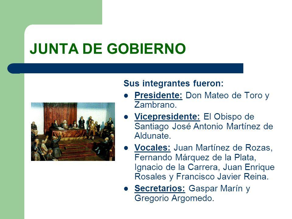 JUNTA DE GOBIERNO Sus integrantes fueron: Presidente: Don Mateo de Toro y Zambrano. Vicepresidente: El Obispo de Santiago José Antonio Martínez de Ald