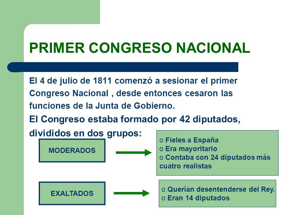 PRIMER CONGRESO NACIONAL El 4 de julio de 1811 comenzó a sesionar el primer Congreso Nacional, desde entonces cesaron las funciones de la Junta de Gob