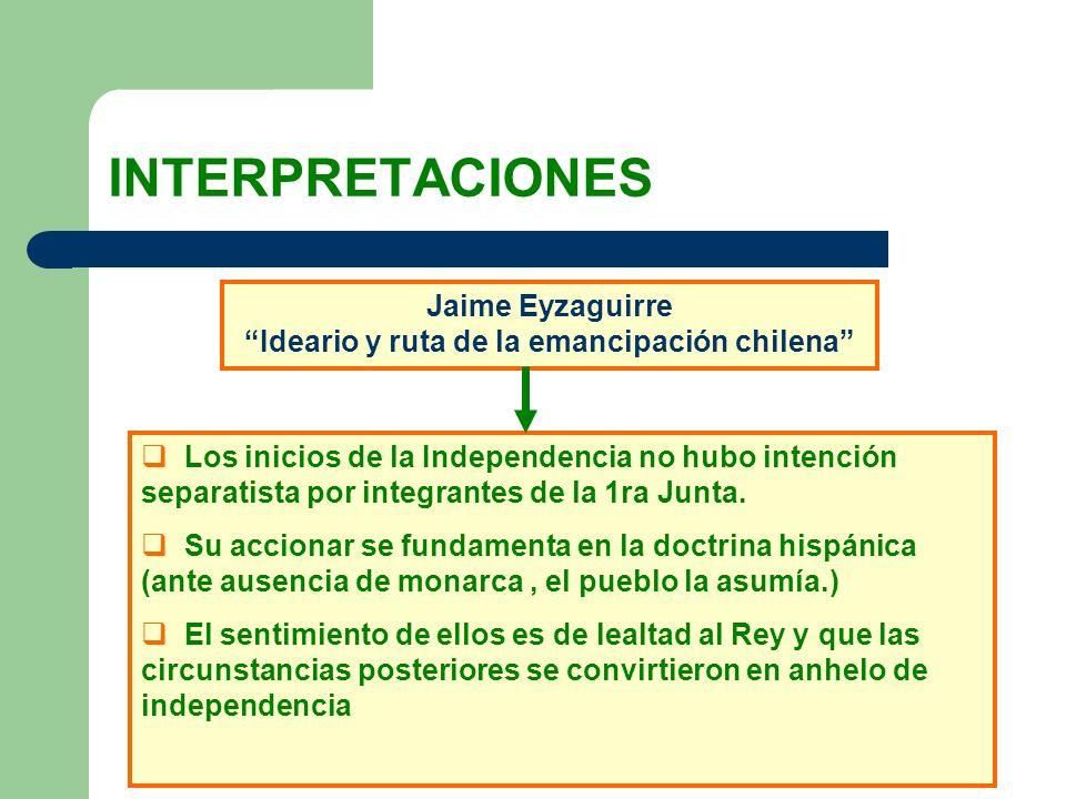 INTERPRETACIONES Jaime Eyzaguirre Ideario y ruta de la emancipación chilena Los inicios de la Independencia no hubo intención separatista por integran