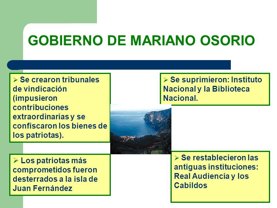 GOBIERNO DE MARIANO OSORIO Se crearon tribunales de vindicación (impusieron contribuciones extraordinarias y se confiscaron los bienes de los patriota