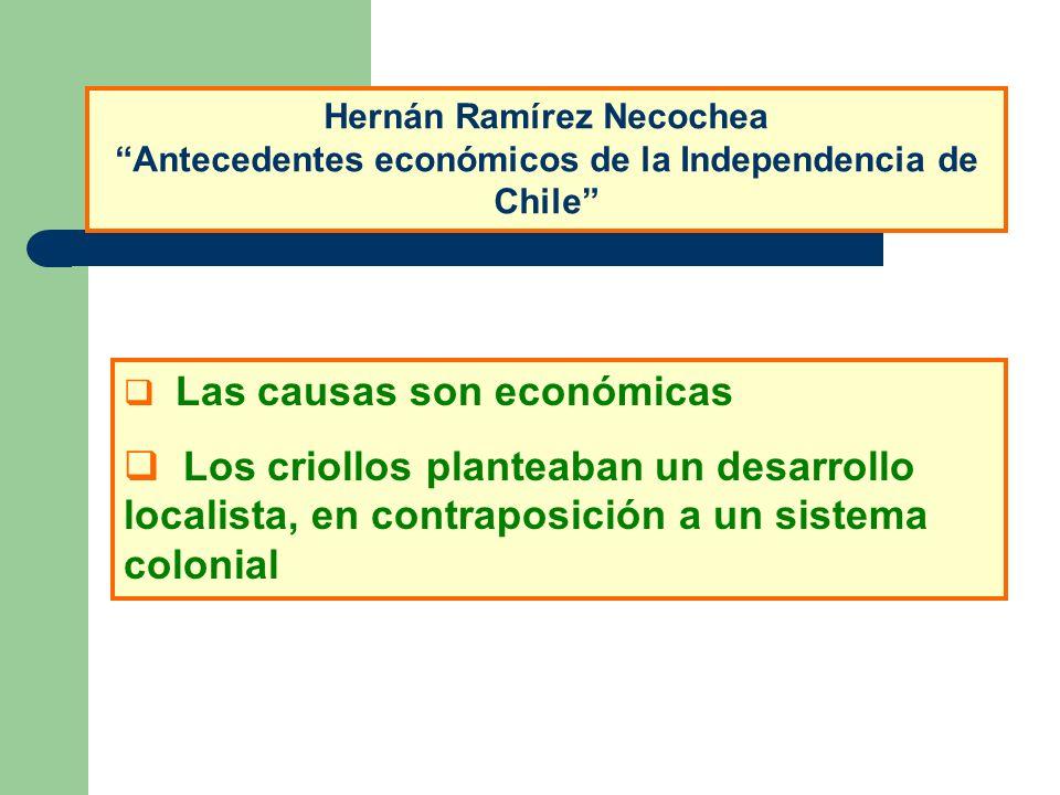 Las causas son económicas Los criollos planteaban un desarrollo localista, en contraposición a un sistema colonial Hernán Ramírez Necochea Antecedente